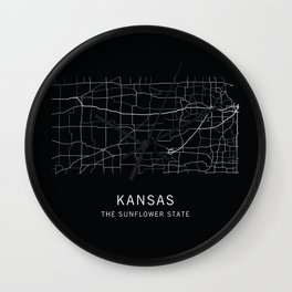 Kansas State Road Map Wall Clock