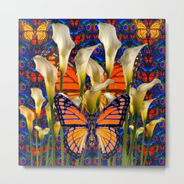 DECORATIVE WHITE CALLA LILIES & MONARCH BUTTERFLY GARDEN COLLAGE Metal Print