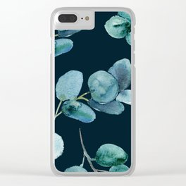 Midnight Leaves Pattern Clear iPhone Case