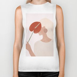 Lady with a Red Leaf Biker Tank