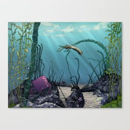 Pink cube travel #1 Findings under the sea Canvas Print