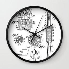 Rocket Ship Patent - Nasa Rocketship Art - Black And White Wall Clock