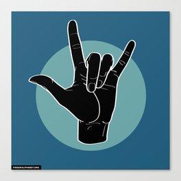 ILY - I Love You - Sign Language - Black on Green Blue 07 Leinwanddruck