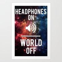 Headphones On, World Off Art Print