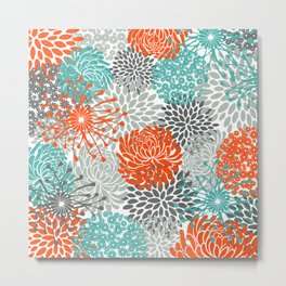 Orange and Teal Floral Abstract Print Metal Print