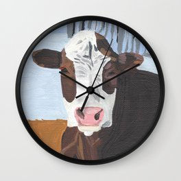 Cow In The Winter Wall Clock