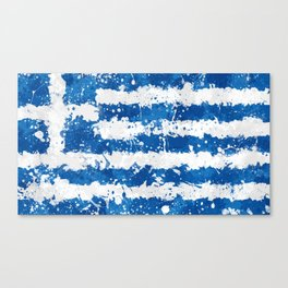 Greece Flag - Messy Action Painting Canvas Print