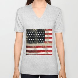 USA Flag ~ American Flag ~ Distressed Pattern ~ Ginkelmier Inspired Unisex V-Neck