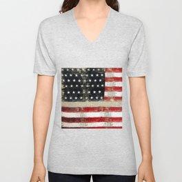 USA Flag ~ American Flag ~ Distressed Pattern ~ Ginkelmier Inspired Unisex V-Neck