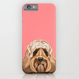 Labradoodle portrait blush dog portrait cute art gifts for dog breed lovers iPhone Case