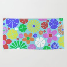 Colourful Colorful Flowers Pattern Beach Towel