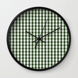 Dark Forest Green and White Gingham Check Wall Clock