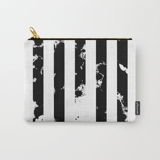 Splatter Bars - Black ink, black paint splats in a stripey stripy pattern Carry-All Pouch