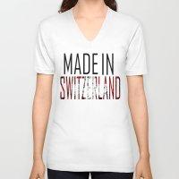switzerland V-neck T-shirts featuring Made In Switzerland by VirgoSpice