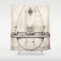 tarot Shower Curtains featuring Tarot: I - The Magician by Jæn ∞