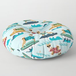 shiba inu surfing dog breed pattern Floor Pillow
