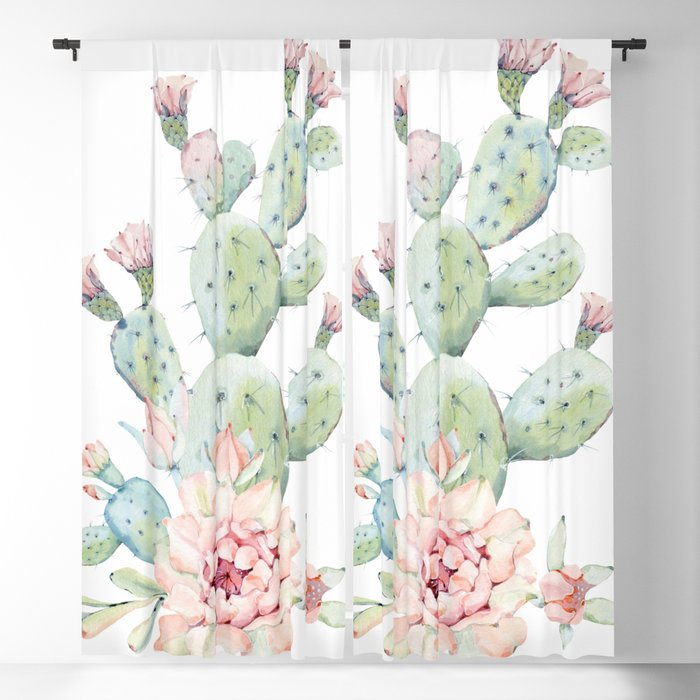 Cactus 3 White #society6 #buyart Blackout Curtain