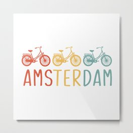 Amsterdam Retro Bicycle Souvenir TShirt Dutch Flag Shirt Netherlands Cycling Gift Idea  Metal Print