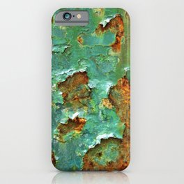 Rust and Deep Aqua Blue Abstract iPhone Case