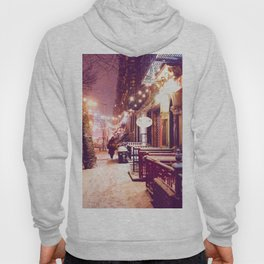 Winter Night with Snow in the East Village New York City Hoody