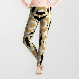 Gold Foil Art Deco Star Pattern Leggings