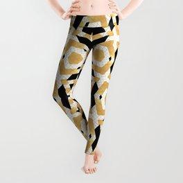 Gold Foil Art Deco Star Pattern Leggings