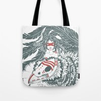 pocahontas Tote Bags featuring Pocahontas by ItDrizzles