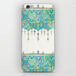 Art Deco Double Drop in Jade and Aquamarine on Cream iPhone Skin