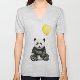 Panda Watercolor Animal with Yellow Balloon Nursery Baby Animals Unisex V-Neck