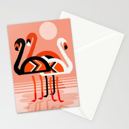 Posse - flamingo throwback nostalgia retro neon art print hipster trendy style minimal abstract geo Stationery Cards