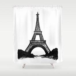 Eiffel Tower in Black Shower Curtain