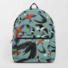 Swallows Martins and Swift pattern Turquoise Backpack