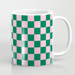 Cotton Candy Pink and Cadmium Green Checkerboard Coffee Mug
