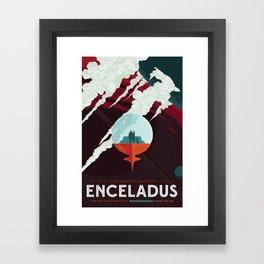 NASA Retro Space Travel Poster #3 - Enceladus Framed Art Print
