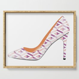 High heeled shoe in a rose quartz and bodacious pink pattern Serving Tray