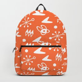 Mid Century Modern Atomic Boomerang Pattern Orange Backpack