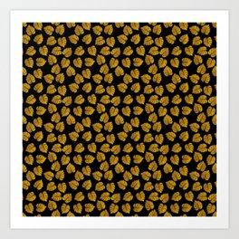 Gold Metallic Foil Photo-Effect Monstera Giant Tropical Leaves on Black Art Print