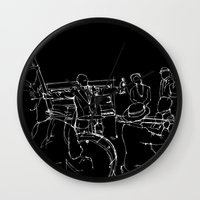 louis armstrong Wall Clocks featuring Jazz Louis Armstrong and his band by Larsson Stevensem