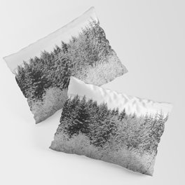 Winter Wanderlust Woods II - Snow Capped Forest Nature Photography Pillow Sham