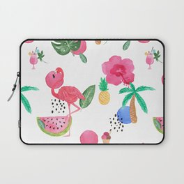 Colorful tropical summer flowers & pink flamingos Laptop Sleeve
