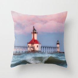 St. Joseph Michigan Lighthouse 01 Throw Pillow