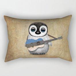 Baby Penguin Playing Estonian Flag Acoustic Guitar Rectangular Pillow