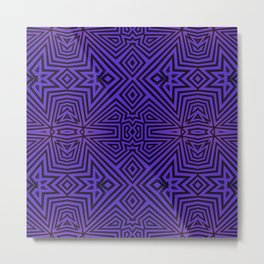 Purple/Black Tribal Pattern Metal Print