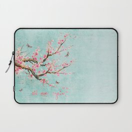 Its All Over Again - Romantic Spring Cherry Blossom Butterfly Illustration on Teal Watercolor Laptop Sleeve
