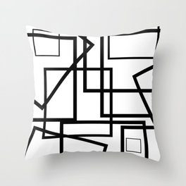 Pile Up White With Black Geometric Throw Pillow