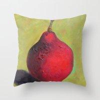 stark Throw Pillows featuring Stark Crimson by Suzy Kitman Fine Art