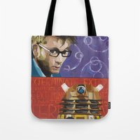 dalek Tote Bags featuring Doctor Dalek by Topaz Arrow