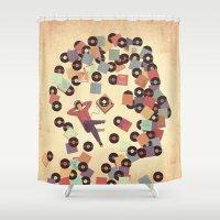 vinyl Shower Curtains featuring Vinyl by Davide Bonazzi
