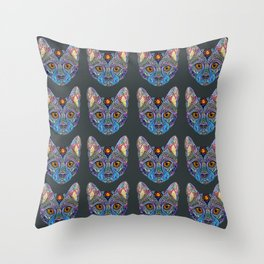 Mystic Psychedelic Cat Throw Pillow