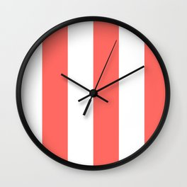 Wide Vertical Stripes - White and Pastel Red Wall Clock